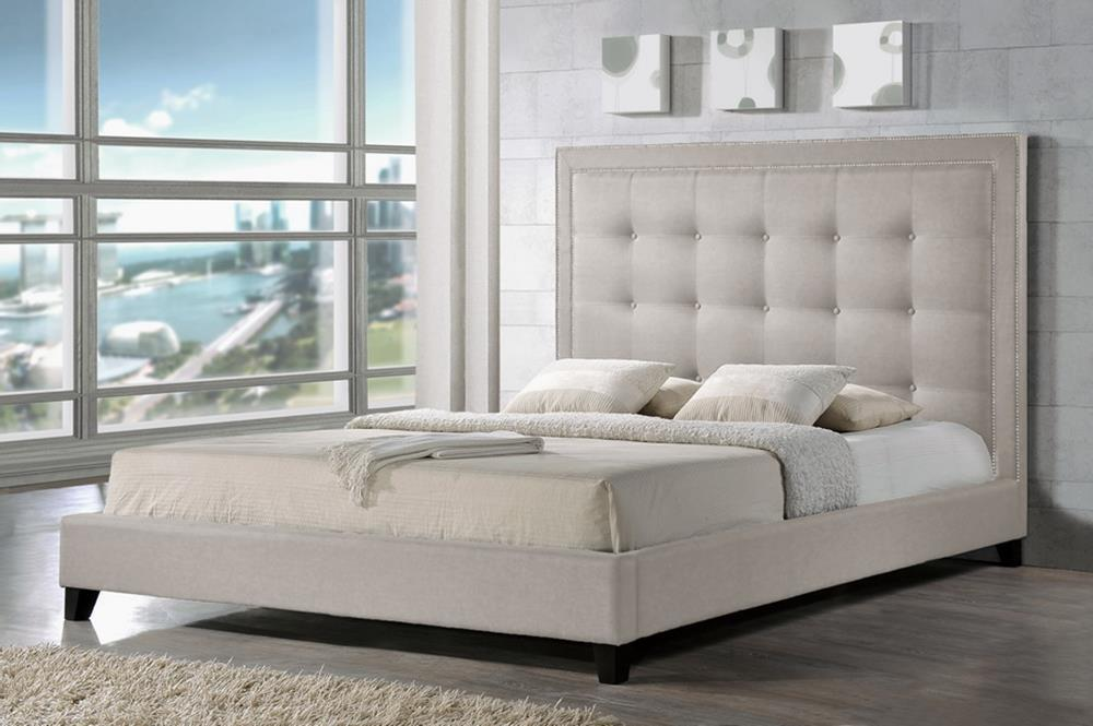 Marvelous Baxton Studio Hirst Light Beige Platform Bed Queen Size With Bench Pabps2019 Chair Design Images Pabps2019Com
